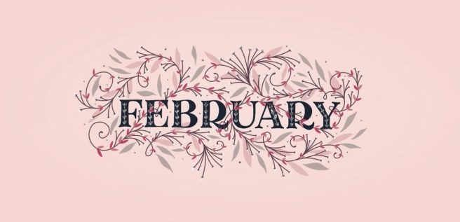 Image of 'February' in decorative text with vine like decorations around it on a pink background.