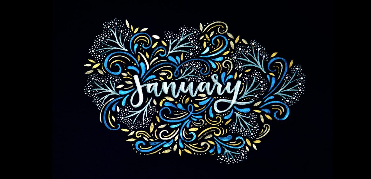 Word art 'January' in white with blue and gold decorative swirls around it on a black background